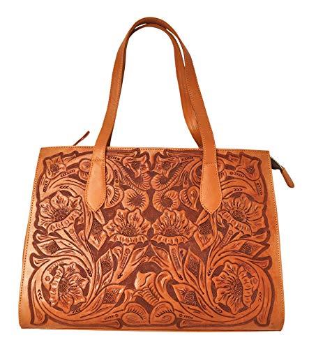 Savannah Vintage Floral Artisan Leather Handmade Shoulder Handbag Designer Gift for Women (Natural)