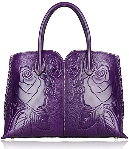 Pijushi Designer Floral Purse Women's Genuine Leather Tote Handbags 65102 (violet) by PIJUSHI