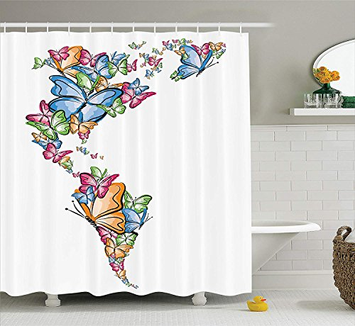lovedomi Wanderer Shower Curtains North and South America World Map Outline with Butterfly Figure 71x71inch Washing Waterproof Fabric Includes 12 Plastic Hooks Apartment Decor (Outline Map Of North And South America)