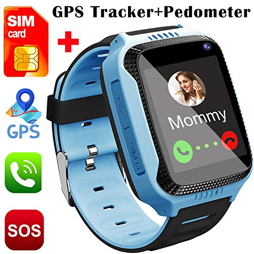 Smart Watch for Kids, [SIM Card Included]Smart Watches for Boys Girls Smartwatch GPS Tracker Watch Pedometer Fitness Tracker Wrist Android Mobile Cell Phone Best Gift for Children 3-12 Year Old (Blue)