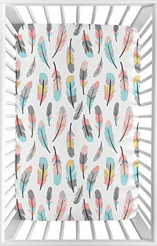 Sweet Jojo Designs Coral and Turquoise Baby Girl Fitted Mini Portable Crib Sheet for Feather Collection - for Mini Crib or Pack and Play ONLY ()