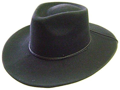 Modestone Unisex Espagnol Wool Felt Thin Brim Chinstring Cowboy Hat 55 Black