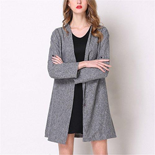 Coat Largo Chaqueta Mujer Slim Largas Invierno Otoño Outwear Mangas Cuello Honghu Gris Casual E Redondo Abrigos g6q7HCw