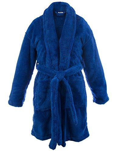 BC BARE COTTON Kids Microfiber Fleece Shawl Robe - Boys (X-Large (Ages 13-15), Royal Blue)