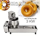 110V Donut Frying Machine Commercial Full Automatic Donut Maker Wide Oil Tank 3 Sets Free Mold