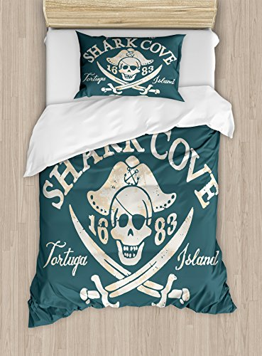 (Pirate Twin Size Duvet Cover Set by Ambesonne, Shark Cove Tortuga Island Caribbean Waters Retro Jolly Roger, Decorative 2 Piece Bedding Set with 1 Pillow Sham, Slate Blue White Light Mustard)