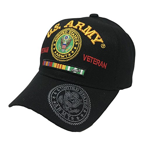 GREAT CAP Official Licensed Military Hat by US Warriors 3D Embroidered Military Hat - Army Vietnam Veteran Black