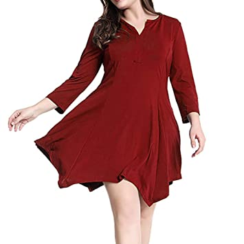 FuweiEncore Tallas Grandes Sueltas para Mujer Fiesta de Noche Informal Mini Vestido de Manga Larga (Color : Rojo, tamaño : XX-Large): Amazon.es: Hogar