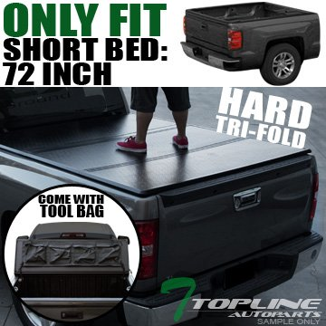 Topline Autopart Solid Tri Fold Hard Truck Bed Tonneau Cover With Tool Bag For 83-11 Ford Ranger ; 94-10 Mazda B-Series B2300/B2500/B3000/B4000 6 Feet (72