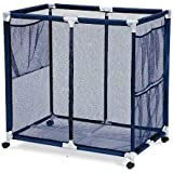 """Essentially Yours Pool Floats, Balls, Toys and Equipment Rolling Mesh Organizer Storage Bin, Extra-Large, 34""""x 24""""x 38"""", Blue"""