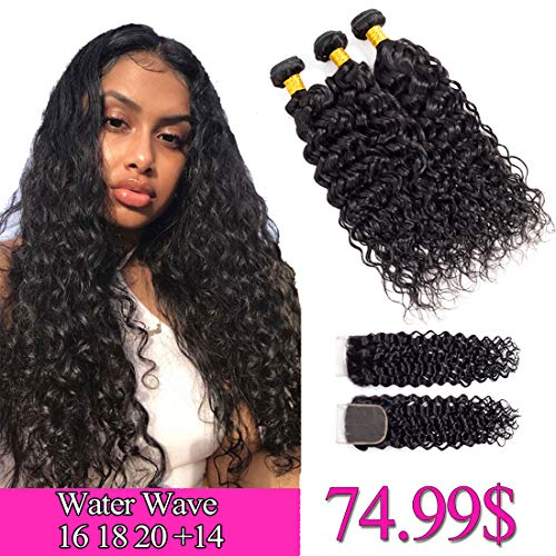 8A Water Wave Bundles with Closure 16 18 20 +14 Lace Closure Free Part Water Wave 3 Bundles with Closure 1B# Water Curly Wave Human Hair Bundles ()