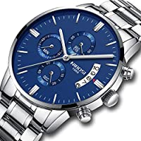 NIBOSI Men's Watches Chronograph Waterproof Military Quartz Luxury Wristwatches for Men Stainless Steel Band Blue Color