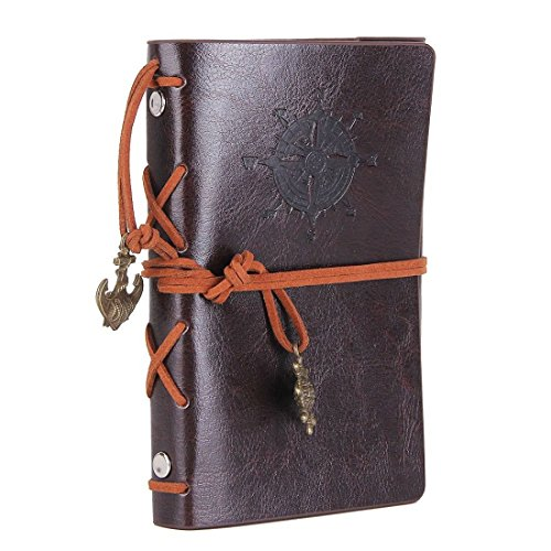 Price comparison product image Kunhe Vintage Handmade Leather Writing Journal Notebook Refillable Diary 5 Inches(Coffee)