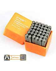 """OWDEN Professional 36Pcs. Steel Metal Stamp Set,(1/4"""") 6mm,Steel Number and Letter Punch Set,Alloy Steel Made HRC 58-62 for Jewelry Craft Stamping."""