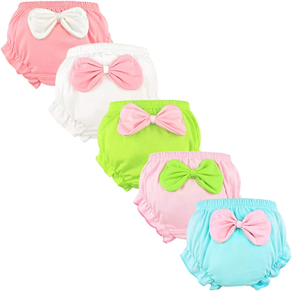 Baby Girls Toddler Cotton Bloomers Ruffle with Bow Diaper Covers Briefs Underwear Set for Infant Kids Girls 6-Pack