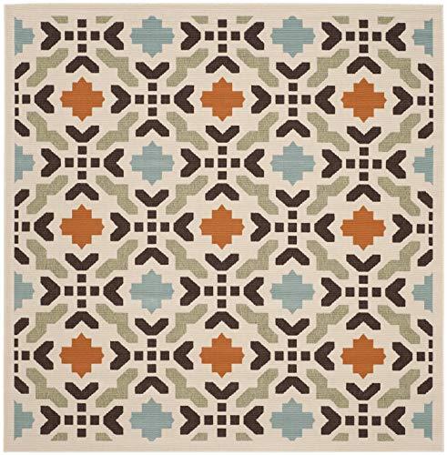 Safavieh Veranda Collection VER080-0712 Indoor/ Outdoor Cream and Terracotta Square Contemporary Area Rug (6'7