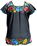 Mexican Hipil Colorful Flowers Women Blo