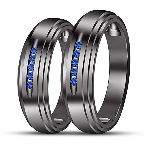 TVS-JEWELS Black Rhodium Plated 925 Silver Couple Engagement Ring In Comfort Fit Five Stone Gemstone (Blue Sapphire) by TVS-JEWELS