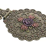 Nerien Vintage Round Rose Metal Mirror Comb Set