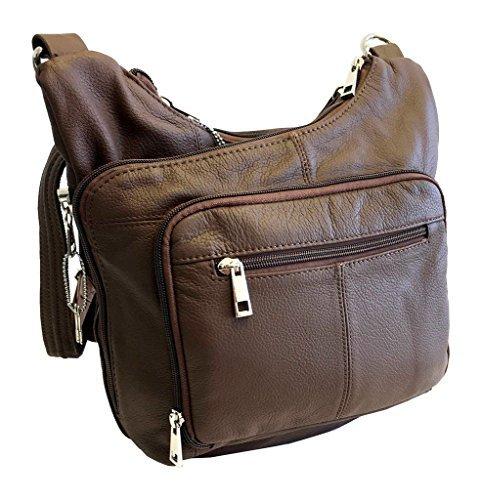 Stylish Leather Locking Concealment Crossbody Purse - CCW Concealed Carry Gun Handbag, Ambidextrous, Brown
