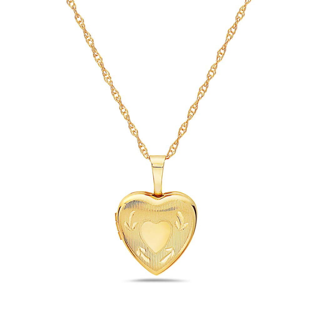 Pori Jewelers 14K Solid Yellow Gold 12mm Heart Locket Pendant Necklace-in 14K Gold Rope Chain Available (18, Heart with Arrows) by Pori Jewelers (Image #1)