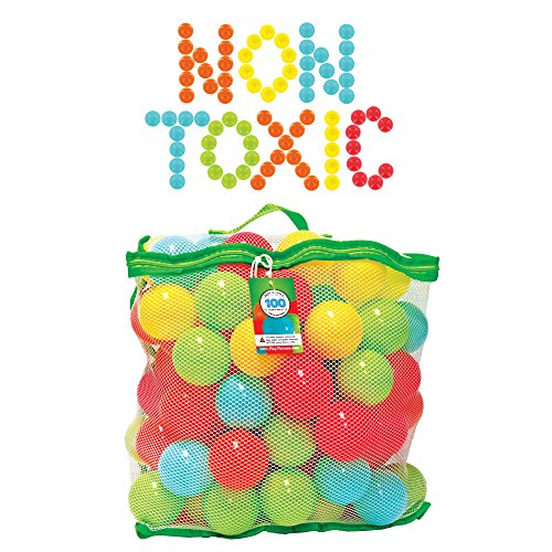 NON-TOXIC 100 Bounce House Balls - Crush Proof 6.5cm Plastic Balls for Ball Pit - Phthalate Free, BPA Free