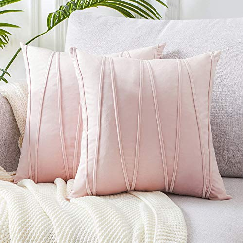 Top Finel Square Decorative Throw Pillow Covers Soft Velvet Outdoor Cushion Covers 18 X 18 for Sofa Bed, Set of 2, Pink (Sofa Pale Pink Velvet)