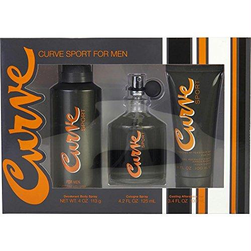 Curve Sport by Liz Claiborne for Men 3 Piece Set Includes: 4.2 oz Cologne Spray + 4.0 oz Deodorant Body Spray + 3.4 oz Cooling After Shave Gel