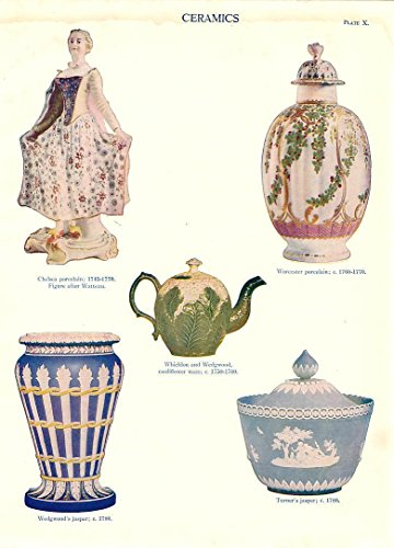 Wedgwood porcelain ceramic jars & vases charming vintage 1911 color print ()
