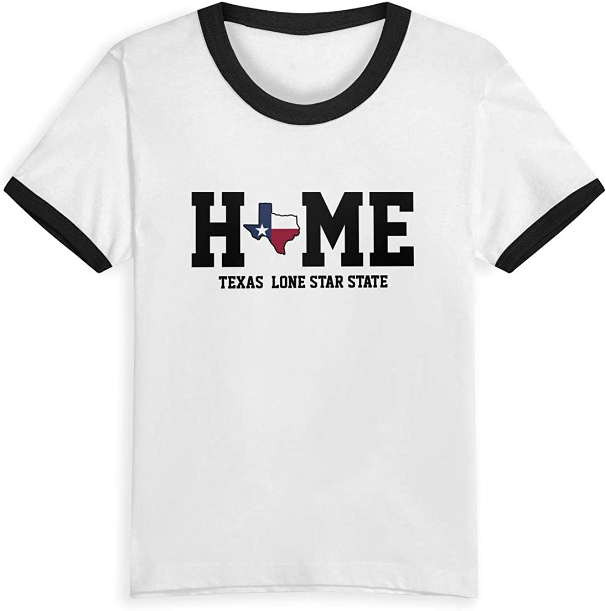 CY SHOP Texas My Home Lone Star State Childrens Boys Girls Contrast Short Sleeve T-Shirt