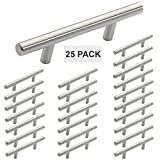 Hamilton Bowes Satin Nickel Cabinet Hardware Euro Style Bar Handle Pull - 3'' Hole Centers, 5-3/4'''' Overall Length (25)