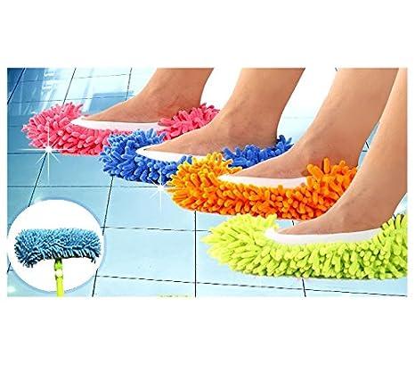 MOP 2 EN 1 - Zapatillas fregona (Pack de 2 - Utilizable hasta la talla 44) - Verde: Amazon.es: Hogar