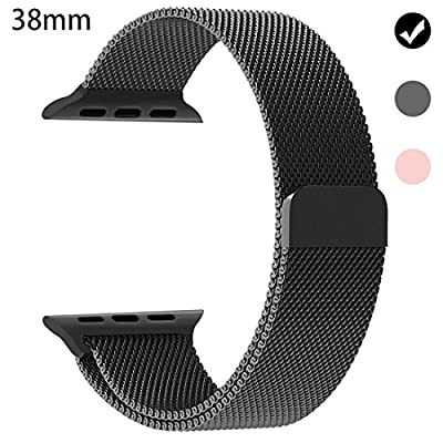 Ferdery Stainless Steel Band Mesh Milanese Loop Bracelet Strap Replacement Band with Magnetic Closure Clasp for Apple Watch Series 1 Series 2 Edition 38mm 42mm