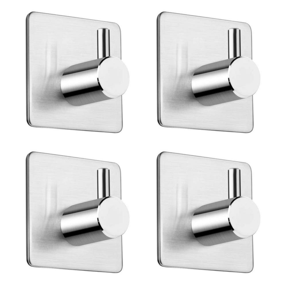 Adhesive Hooks 4 Pack, Stainless Steel Stick Wall Hooks, Waterproof Wall Hanger Towel Hooks Heavy Duty Hooks for Hanging Ideal for Bathroom Shower Kitchen Home Door Closet Cabinet
