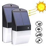 Solar Lights Outdoor,IP65 Waterproof 25 LED Solar Motion Sensor Light Wall Lamp Radar Sensor Human Body Induction 180 Degrees Detection Angle Lighting for Garden/Patio/Patnway/Yard (2pcs)