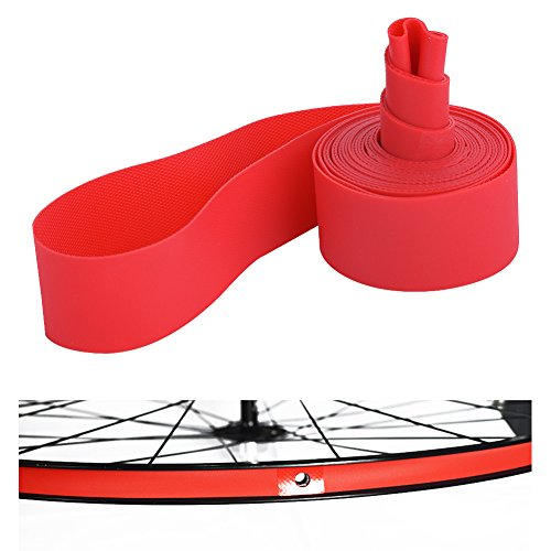 Dilwe Bike Tire Liners, PVC Red Bicycle Rim Strip Rim Tape Fits 20inch 24inch 26inch 700C Riding Wheels(20inch)