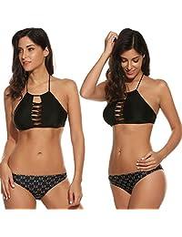 Avidlove Womens Cut out Lace Up Bikini Set Vintage Halter Padding Bathing Suit