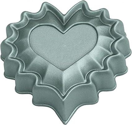 WAS 3127100 Molde de Aluminio Fundido, Mini de corazón, 10 cm – Antiadherente