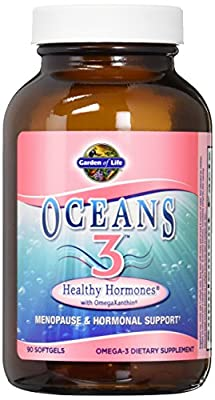 Garden of Life Ultra Pure EPA/DHA Omega 3 Fish Oil - Oceans 3 Healthy Hormone Dietary Supplement with Antioxidants, 90 Softgels