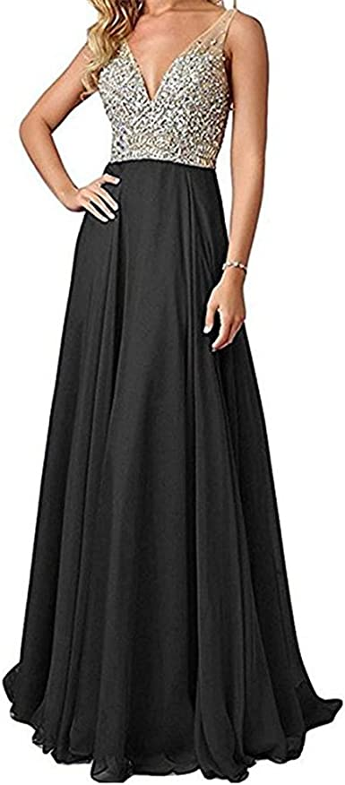 kailiya 2018 Womens Evening Chiffon Lace Long Sleeves Dress for Formal