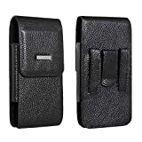 Belt Holster Fit for iPhone X Max iPhone XR iPhone 8 Plus iPhone 7 Plus iPhone 6S Plus Holster Pouch 5.5 Inch Cowhide Leather with Belt Clip and Loop Carrying Case Fit for Phone with Slim Case on