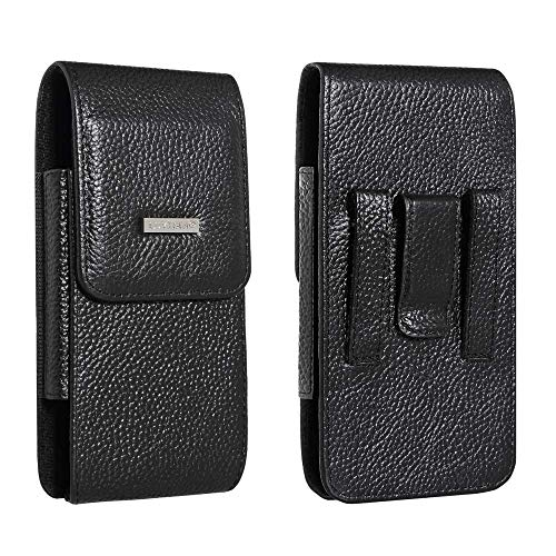 Belt Holster Fit for iPhone X Max iPhone XR iPhone 8 Plus iPhone 7 Plus iPhone 6S Plus Holster Pouch 5.5 Inch Cowhide Leather with Belt Clip and Loop Carrying Case Fit for Phone with Slim Case on ()