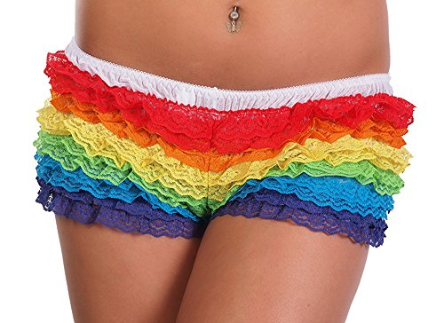 Arsimus Women's Ruffled Rainbow Lace Rhumba Booty Shorts Panties Sexy Rave Gay Pride