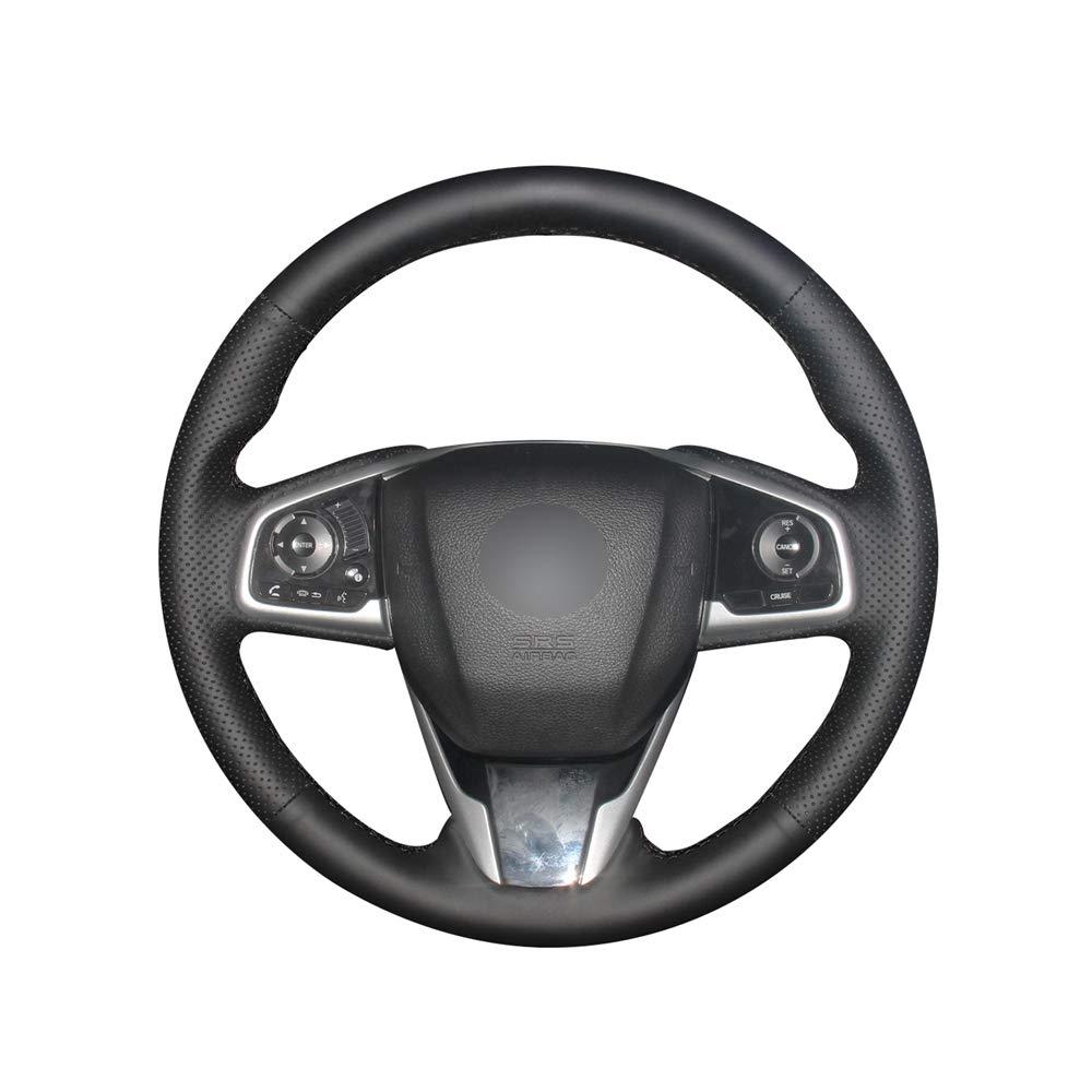 KDKDKLMB Cubierta del Volante Cubierta Negra del Volante del Coche del Cuero Artificial de la PU para Honda Civic Civic 10 2016-2019 CRV CR-V 2017-2019 Claridad 2016-2018