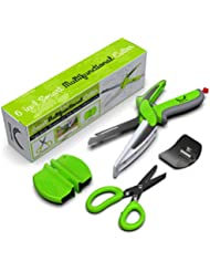 Ethernial 6-in-1 Food Chopper Knife - Salad Scissor Set - Smart Kitchen Shears with Built-in Cutting Board - Use for Quick Cutting - Including Herb Scissors, Finger Guard, Sharpener