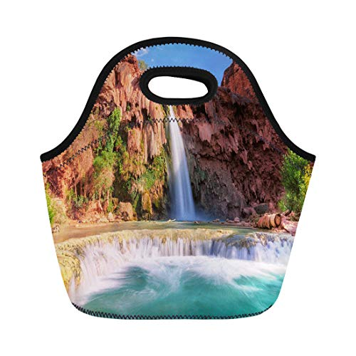 Semtomn Neoprene Lunch Tote Bag Blue Havasu Falls Waterfalls in the Grand Canyon Arizona Reusable Cooler Bags Insulated Thermal Picnic Handbag for Travel,School,Outdoors,Work