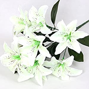 """ZJCilected 15.7"""" Full Blooming Tiger Lily Bouquet with Greenery-10 Forks for Home wedding Office Decor(Cream) 67"""