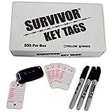 Poly Key Tag, Car Key Tag, 500 per Box, with Rings and Pens (Survivor) (White)