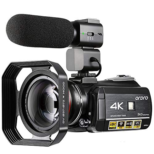 Video Camera 4K Camcorder ORDRO 4K UHD 1080P 60FPS Camera Recorder IR Night Vision and Wi-Fi Camcorder HD Digital Cameras with Microphone and Wide Angle Lens (Best Microphone For Filmmaking)