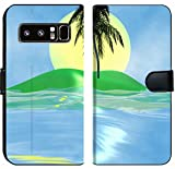 Luxlady Samsung Galaxy Note 8 Flip Fabric Wallet Case Solar Island with a Palm Tree in The Huge Dark Blue sea Image ID 2842537